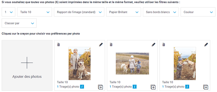 Options pour l'impression des photos