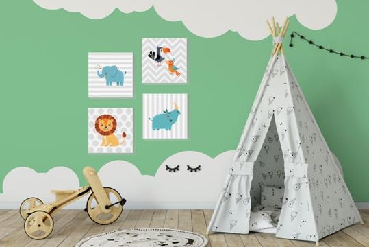 Chambre d'enfant avec décoration murale