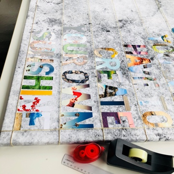 Toile avec lettres découpées dans des photos