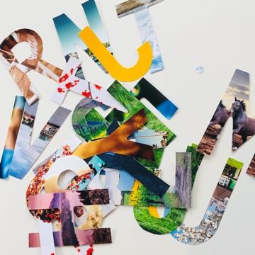 Lettres découpées dans des photos