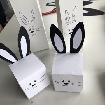 Boîtes à dragées avec frimousses de lapin