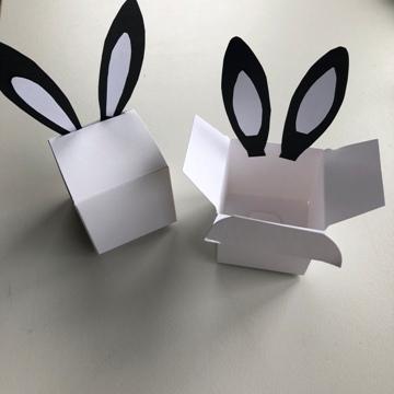 Oreilles de lapin collées sur des boîtes à dragées