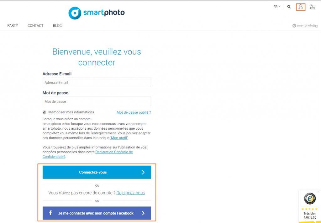 Connexion au compte client smartphoto