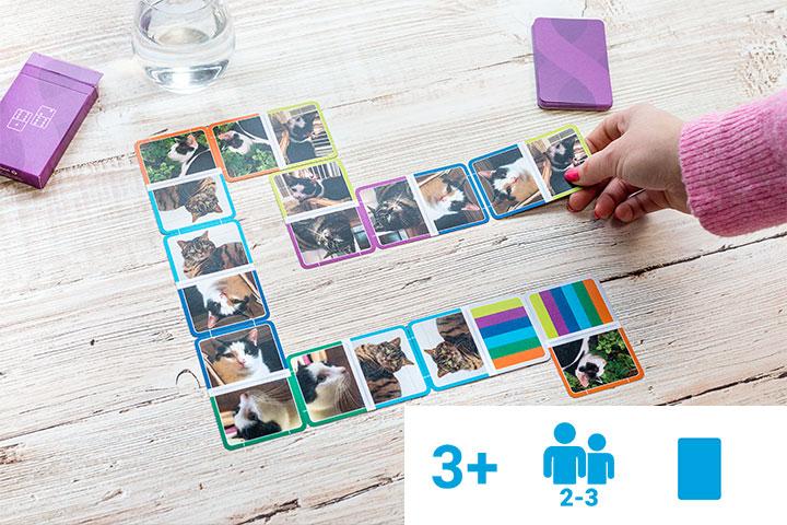 Jeu de dominos personnalisé avec photos de chats