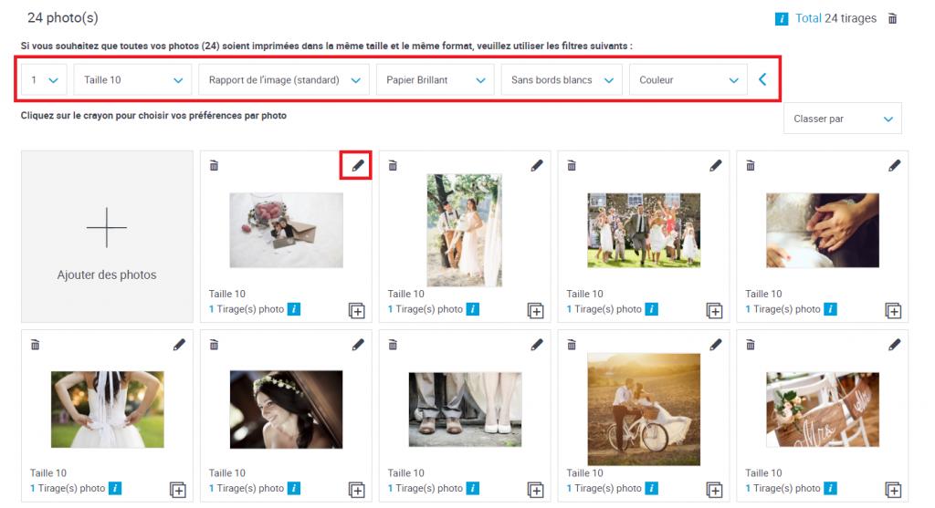 Photos téléchargées dans l'interface de création