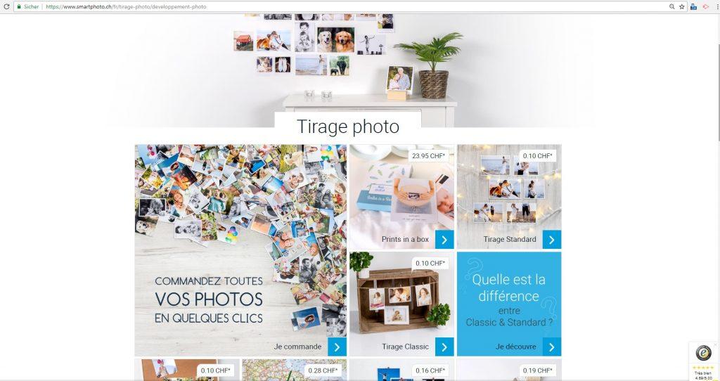 Commande de tirages photo