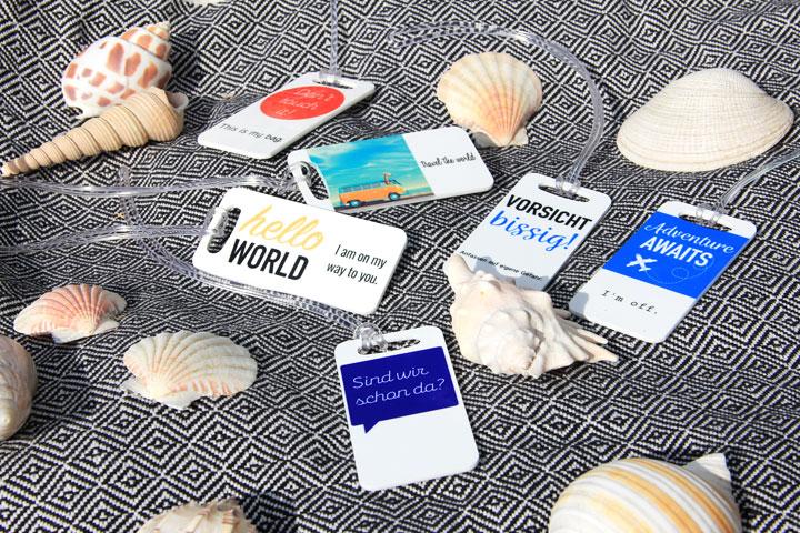 Etiquettes pour valise avec photos et textes personnels