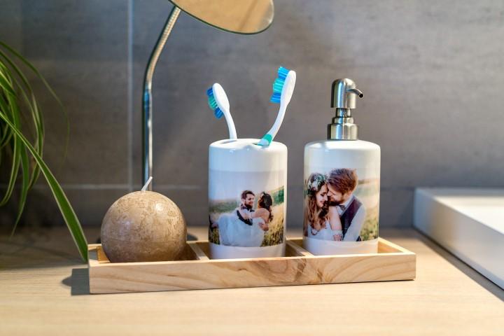 Set de salle de bains avec photos personnelles