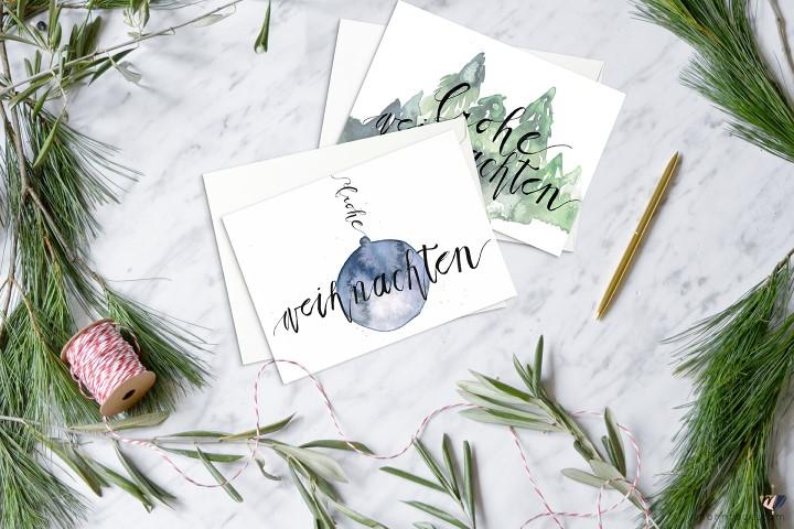 Cartes de Noël hand lettering et aquarelle