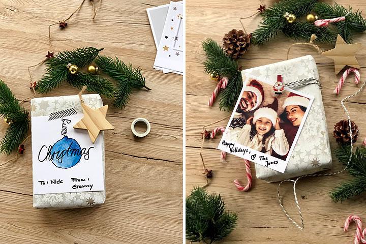 Etiquettes cadeaux avec texte et photo