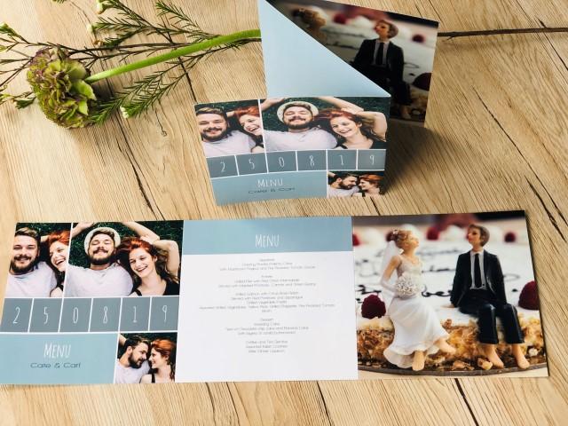 Menu de mariage en 3 volets avec photo