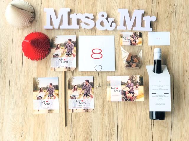 Cartes de mariage personnalisées Mr & Mrs
