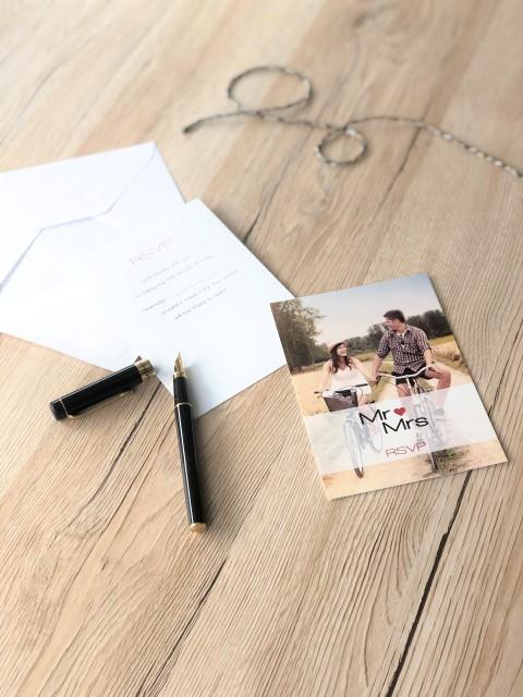Carte-réponse personnalisée avec photo Mr & Mrs