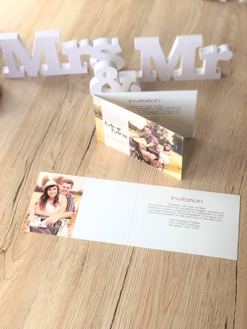Carte d'invitation personnalisée avec photo Mr & Mrs