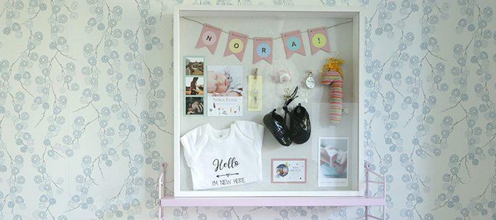 Baby shadow box – Turn newborn keepsakes into art!