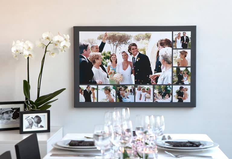 Een fotocollage van trouwdag