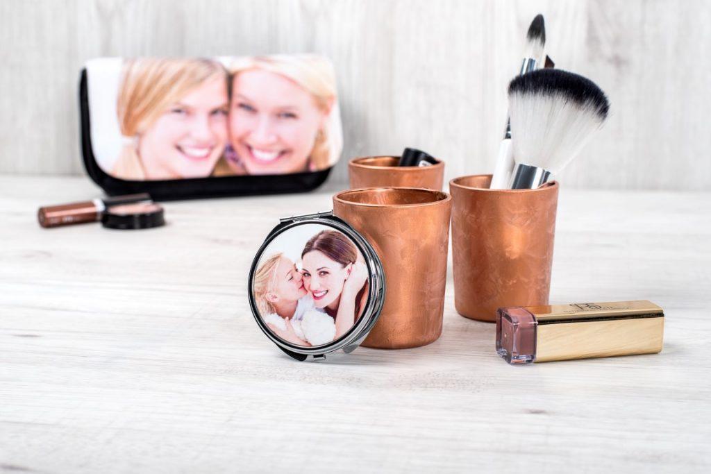 make up spiegeltje en tasje met foto