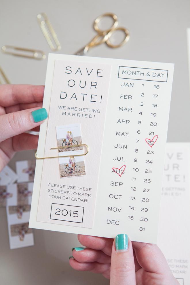 huwelijksuitndodigingen - kalenderkaartje
