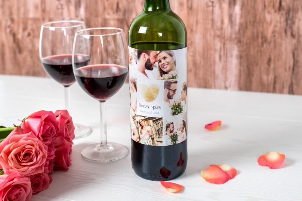 valentijnscadeau voor hem - wijnfles met foto