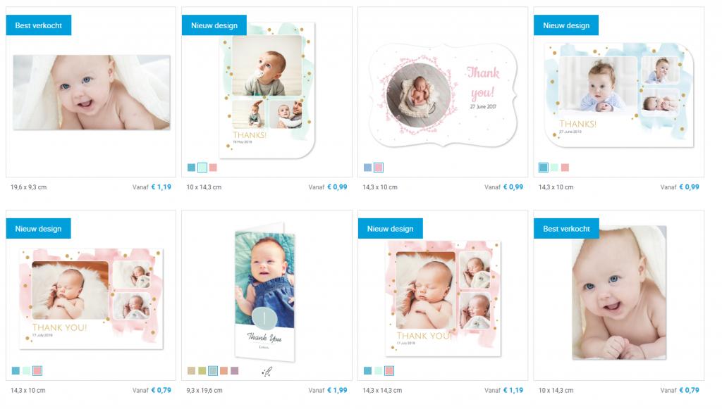 Bedankkaartjes geboorte designs