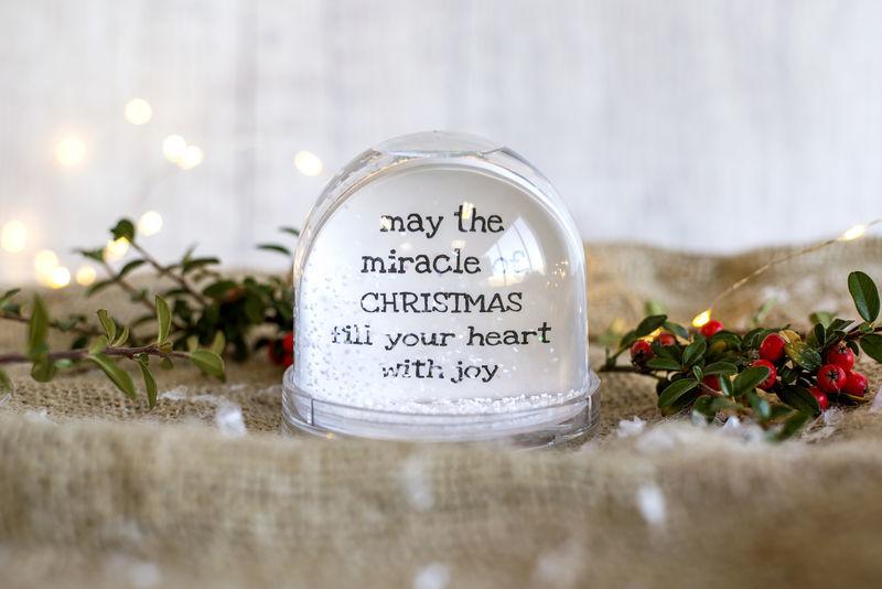 sneeuwbol met foto en tekst