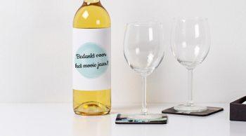 Etiket fles bedank cadeau juf of meester