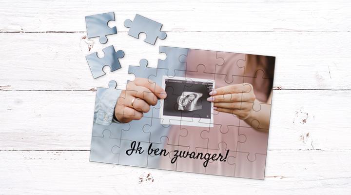 Een puzzel als zwangerschapsaankondiging