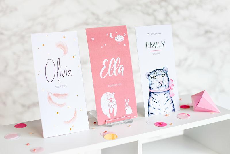 Geboortekaartjes smartphoto met nadruk op typografie en afbeelding