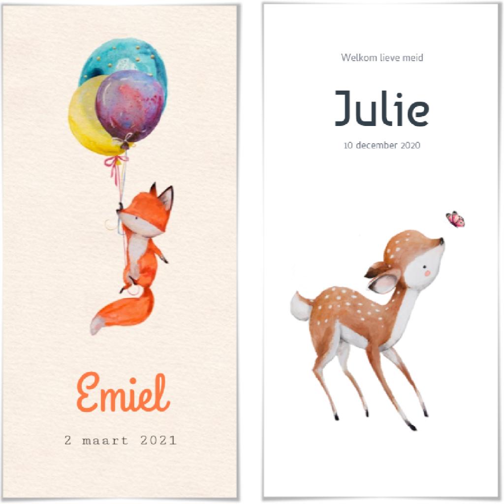 Geboortekaartjes thema dieren. Kindjes Emiel en Julie.