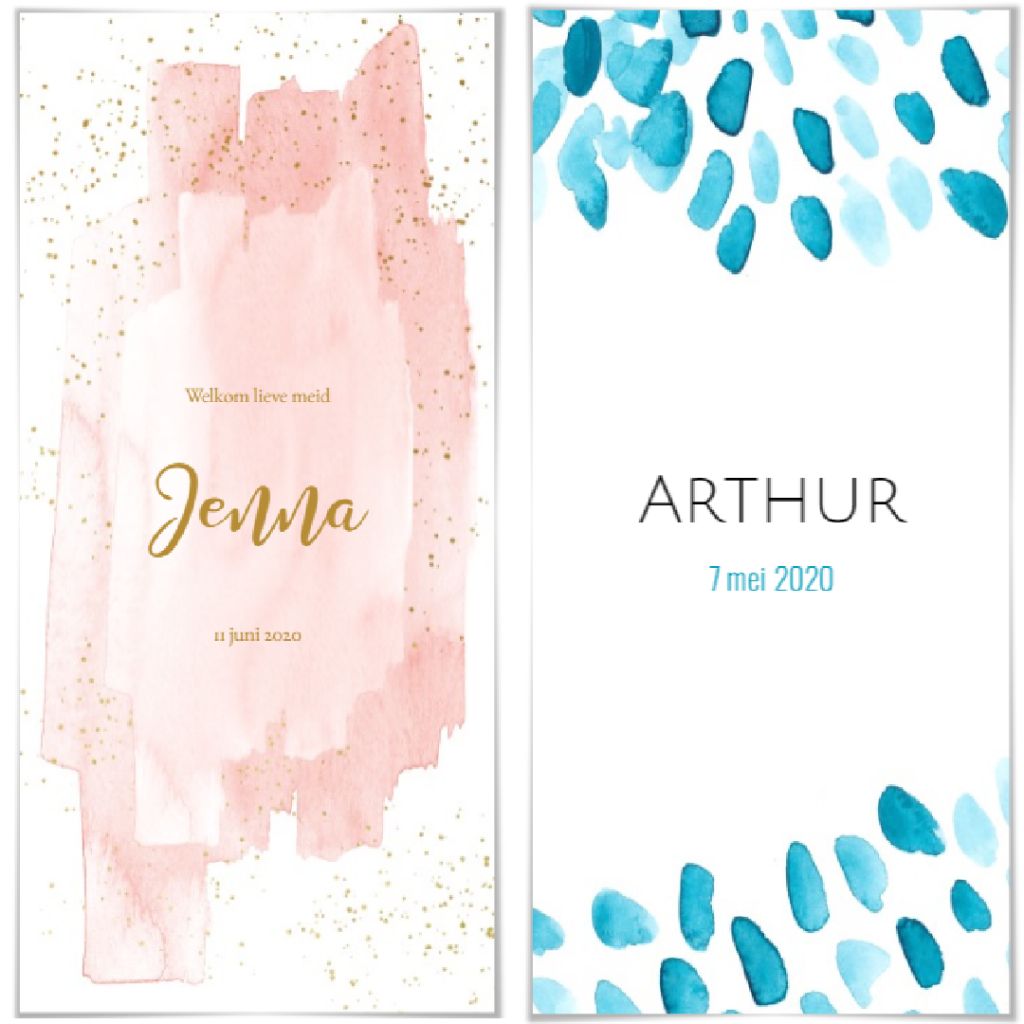 Geboortekaartjes thema waterverf. Kindjes Jenna en Arthur.