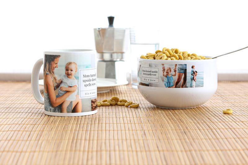Moederdagcadeau opsturen met kaartje: mok en ontbijtkom