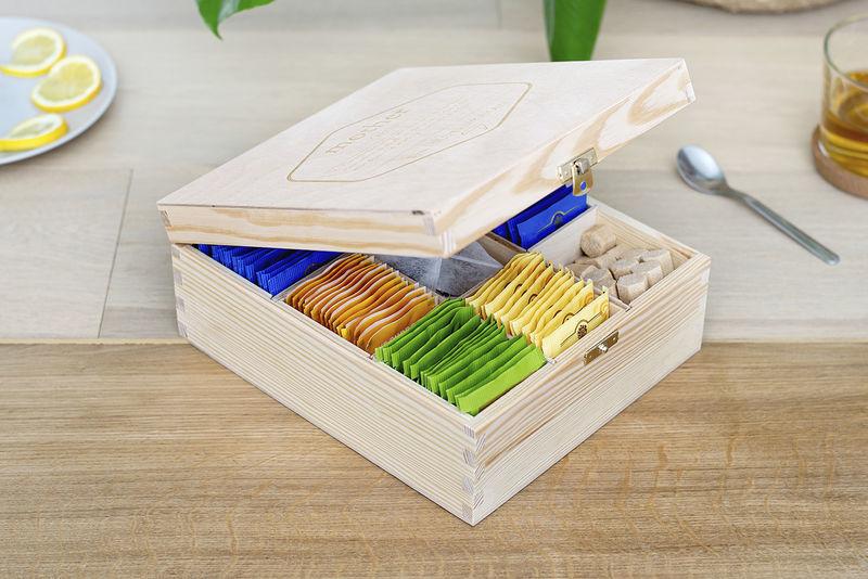 Duurzame en plasticvrije producten: houten theedoos