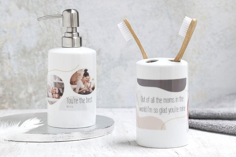 Duurzame en plasticvrije producten: badkamerset in witte keramiek