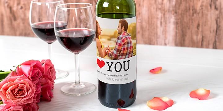 Personalised bottle label on wine bottle