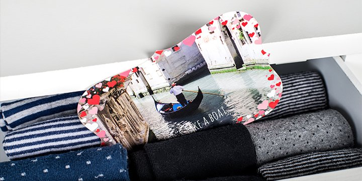 Photo card with photo of Venice in sock drawer