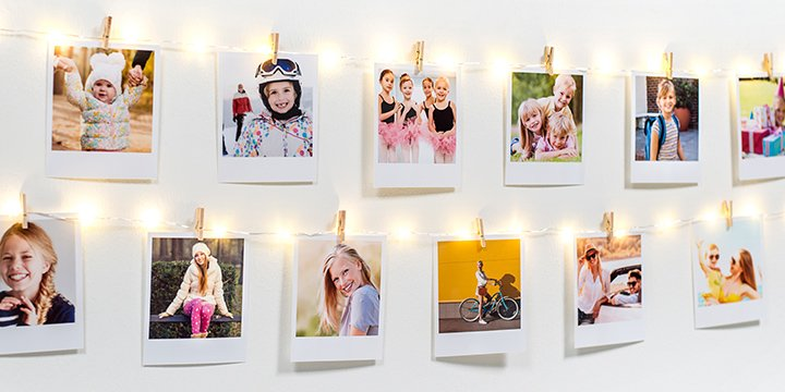 Photo garland of Christmas lights with retro prints