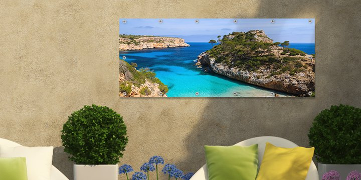 Personalised outdoor banner with exotic beach