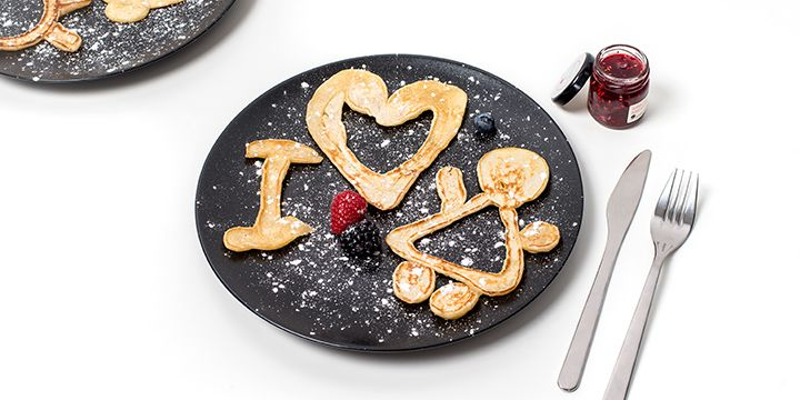 Letter-shaped pancakes with cute message for mother