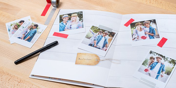 Photo book with retro prints and washi tape