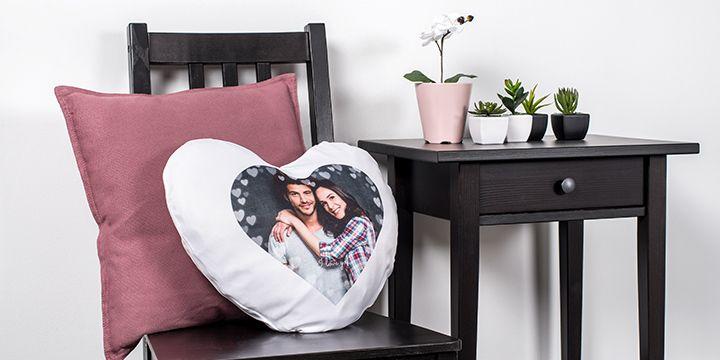 Heart pillow on chair