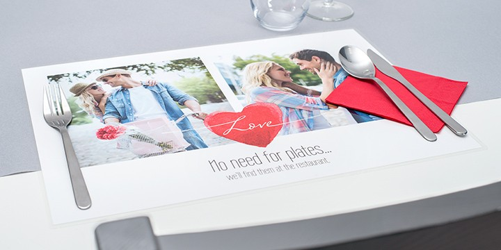 Personalised placemat with romantic message on table