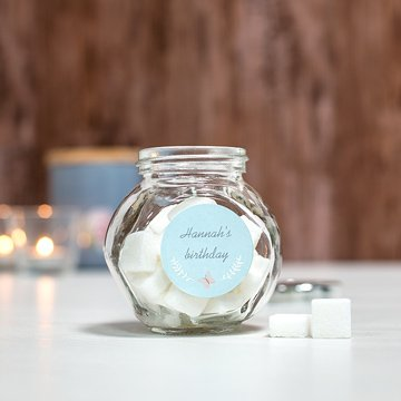 Sugar bowl with personalised sticker
