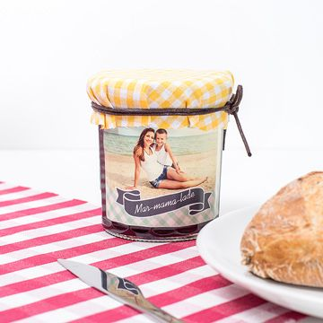 Jar of jam with personalised sticker of mother