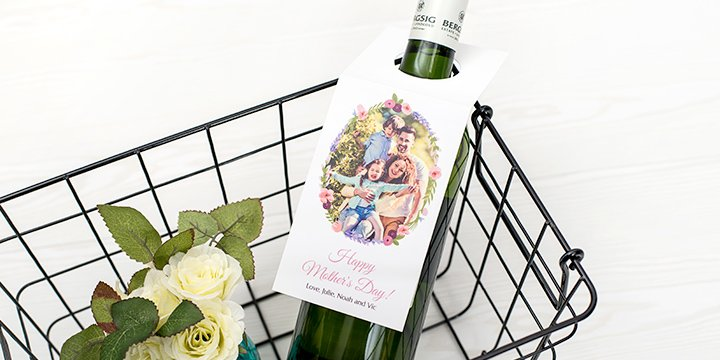 Wine bottle with personalised bottle tag for Mother's Day