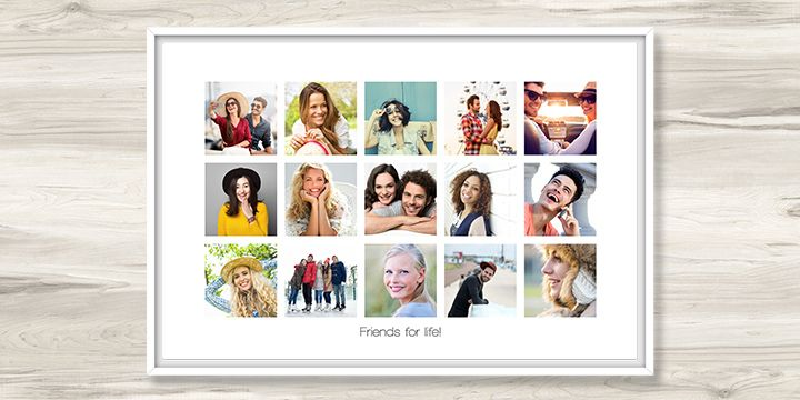 Personalised photo canvas with collage of friends