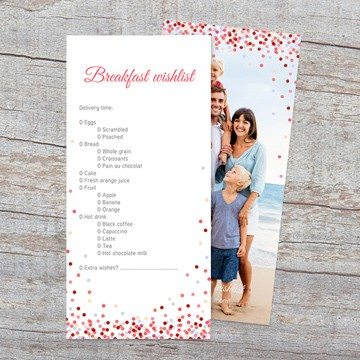 Personalised photo card with breakfast wishlist for mum