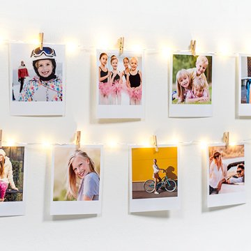 Photo garland with retro prints as party decorations