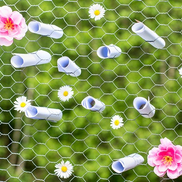 Chicken wire with wish leaves and flowers