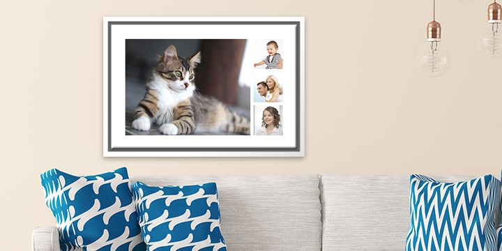Canvas with cat and her family