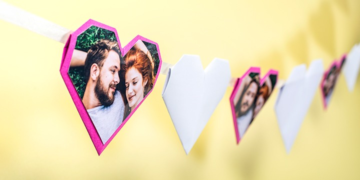 Origami hearts banner